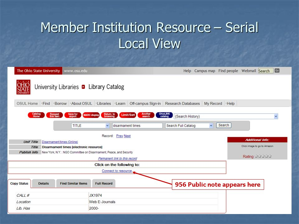 Member Institution Resource – Serial Local View 956 Public note appears here