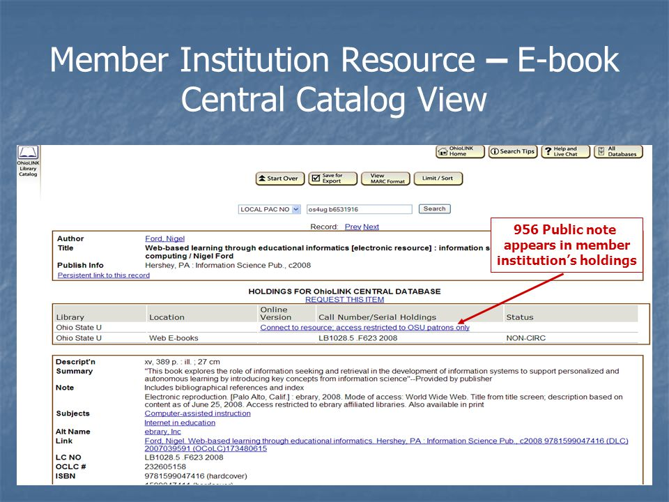 Member Institution Resource – E-book Central Catalog View 956 Public note appears in member institution's holdings