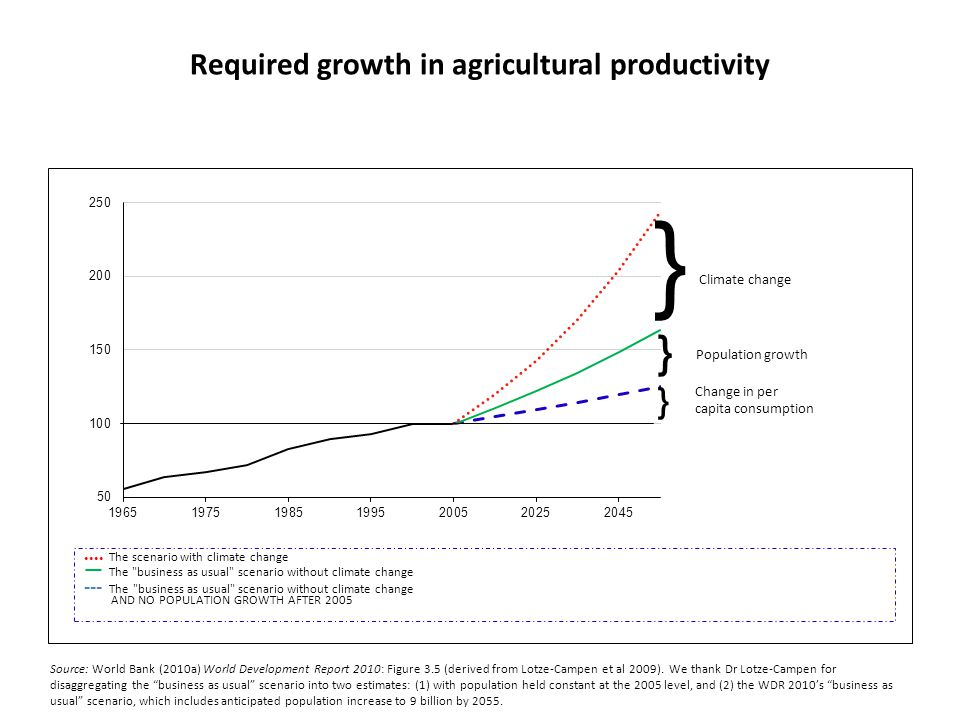 Required growth in agricultural productivity Source: World Bank (2010a) World Development Report 2010: Figure 3.5 (derived from Lotze-Campen et al 200