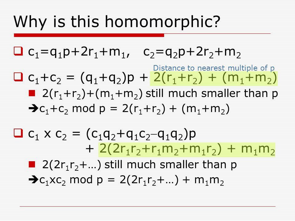 Why is this homomorphic?  c 1 =q 1 p+2r 1 +m 1, c 2 =q 2 p+2r 2 +m 2  c 1 +c 2 = (q 1 +q 2 )p + 2(r 1 +r 2 ) + (m 1 +m 2 ) 2(r 1 +r 2 )+(m 1 +m 2 )