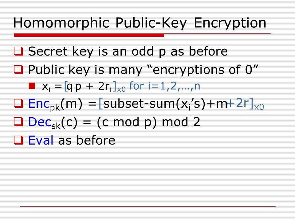 """Homomorphic Public-Key Encryption  Secret key is an odd p as before  Public key is many """"encryptions of 0"""" x i = q i p + 2r i  Enc pk (m) = subset-"""