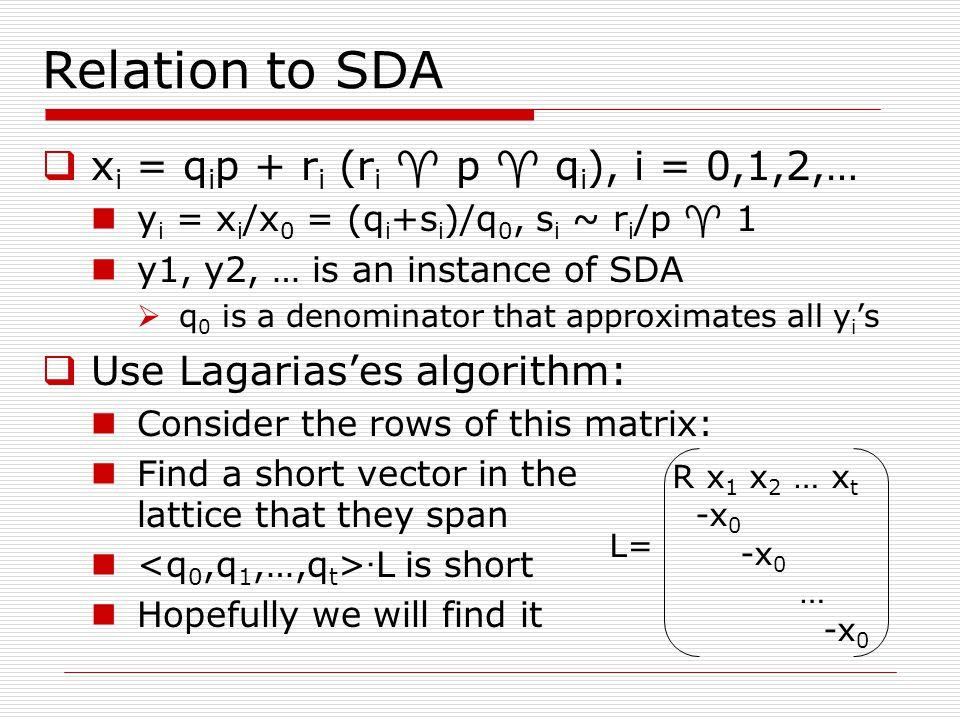 Relation to SDA  x i = q i p + r i (r i  p  q i ), i = 0,1,2,… y i = x i /x 0 = (q i +s i )/q 0, s i ~ r i /p  1 y1, y2, … is an instance of SDA 