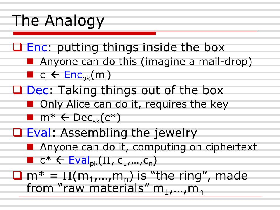 The Analogy  Enc: putting things inside the box Anyone can do this (imagine a mail-drop) c i  Enc pk (m i )  Dec: Taking things out of the box Only