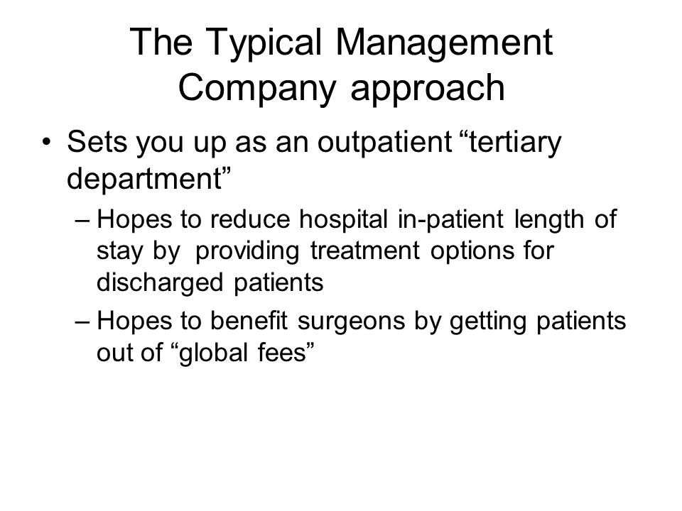 How to Create a Doomed Wound Center Minimal attempt at integration into the rest of hospital in patient and outpatient services and the community JCAHO does not like islands of care Hospital inpatient and outpatient services NEED to be integrated across the entire service line