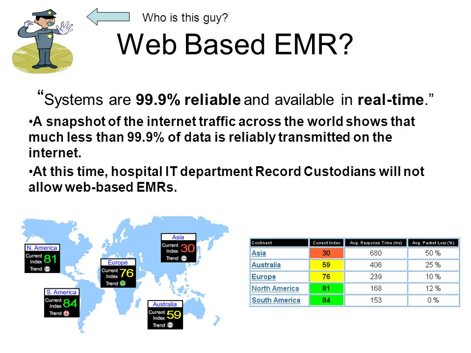 """Web Based EMR? """" Systems are 99.9% reliable and available in real-time."""" A snapshot of the internet traffic across the world shows that much less than"""