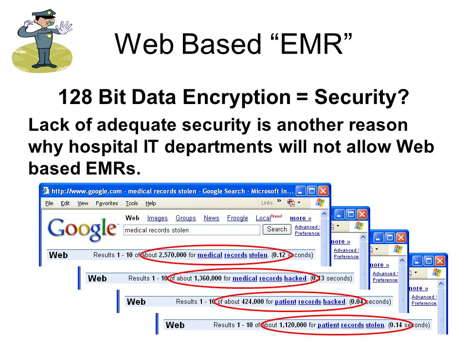 """Web Based """"EMR"""" 128 Bit Data Encryption = Security? Lack of adequate security is another reason why hospital IT departments will not allow Web based E"""