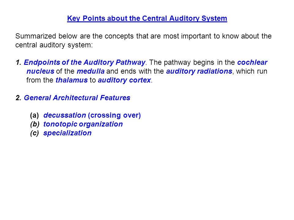 Key Points about the Central Auditory System Summarized below are the concepts that are most important to know about the central auditory system: 1.
