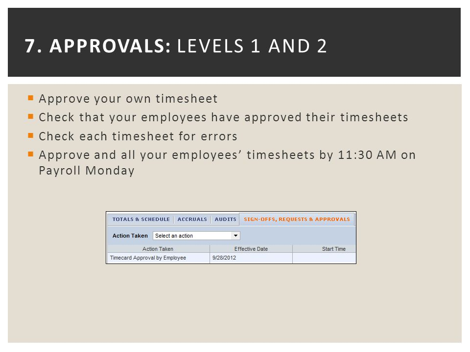 7. APPROVALS: LEVELS 1 AND 2  Approve your own timesheet  Check that your employees have approved their timesheets  Check each timesheet for errors