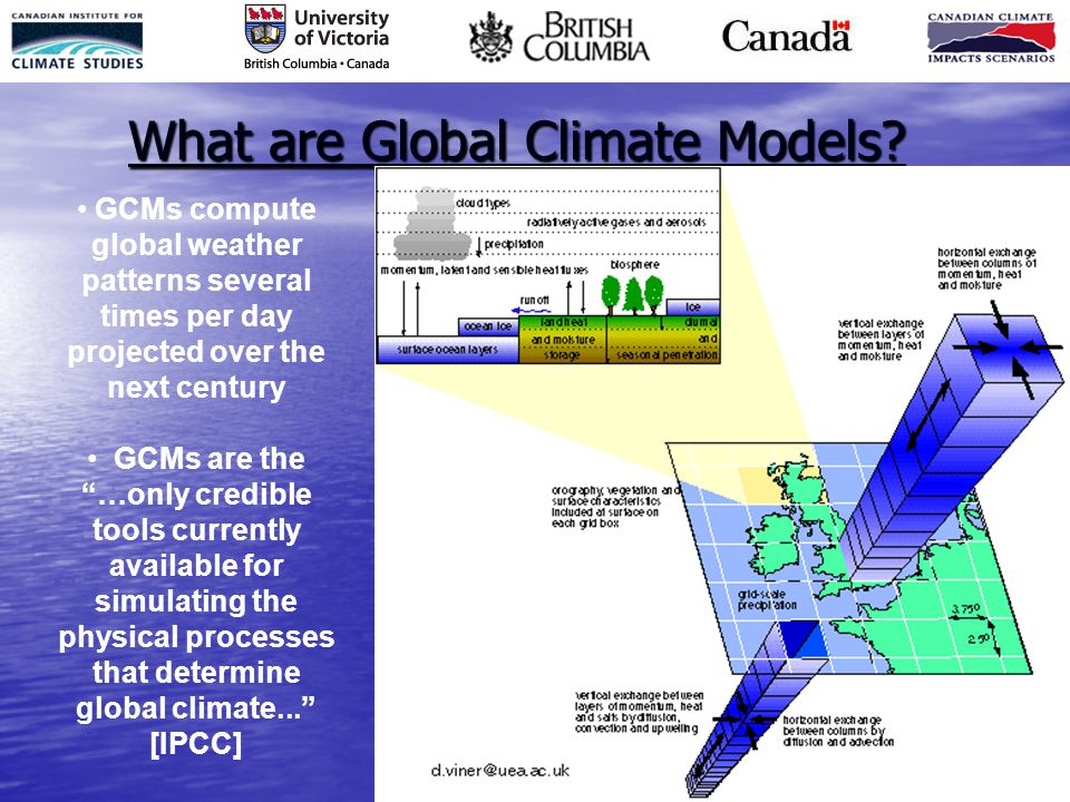 """What are Global Climate Models? GCMs compute global weather patterns several times per day projected over the next century GCMs are the """"…only credibl"""