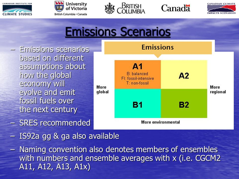 Emissions Scenarios –Emissions scenarios based on different assumptions about how the global economy will evolve and emit fossil fuels over the next c