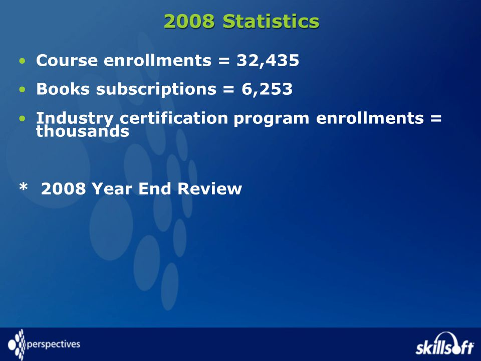 2008 Statistics Course enrollments = 32,435 Books subscriptions = 6,253 Industry certification program enrollments = thousands * 2008 Year End Review