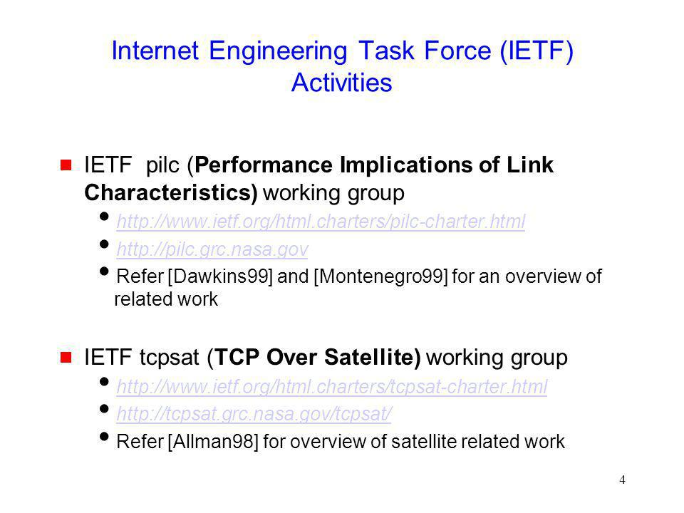 195 Tutorial Outline  Schemes to improves TCP performance in presence of transmission errors  TCP over Satellite  Impact of mobility on TCP performance  Approaches to improve TCP performance in presence of mobility  Issues in multi-hop wireless networks  Issues needing further work  References