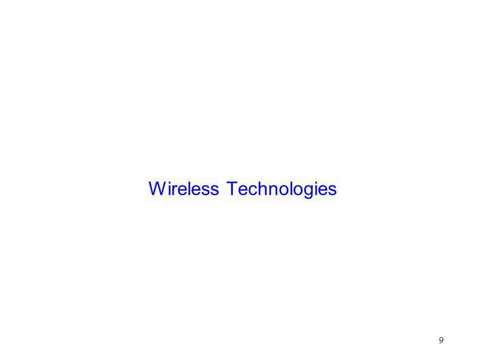 10 Wireless Technologies  Wireless local area networks  Cellular wireless  Satellites  Multi-hop wireless  Wireless local loop