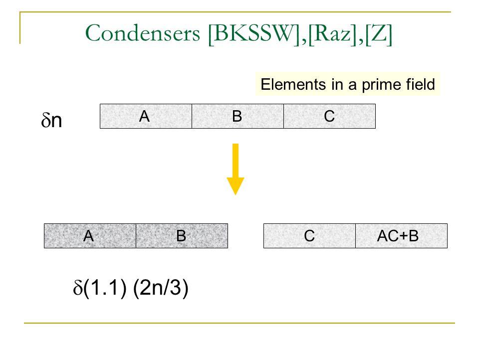 Condensers [BKSSW],[Raz],[Z] A B C nn A B C AC+B  (1.1) (2n/3) Elements in a prime field