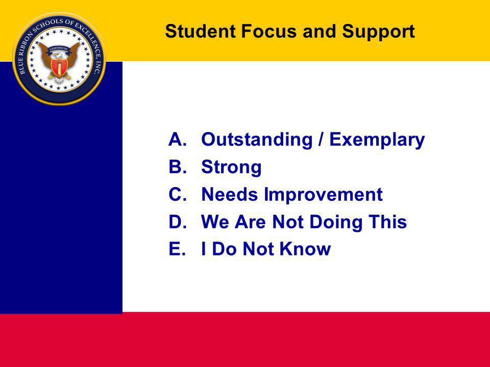 Student Focus and Support A.Outstanding / Exemplary B. Strong C.Needs Improvement D.We Are Not Doing This E.I Do Not Know