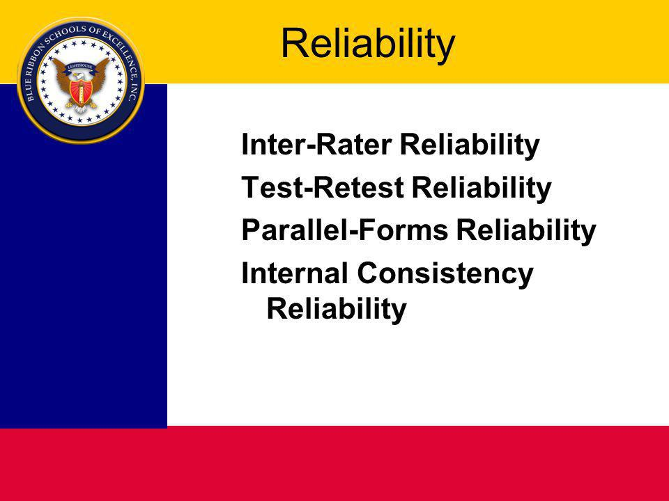 Reliability Inter-Rater Reliability Test-Retest Reliability Parallel-Forms Reliability Internal Consistency Reliability