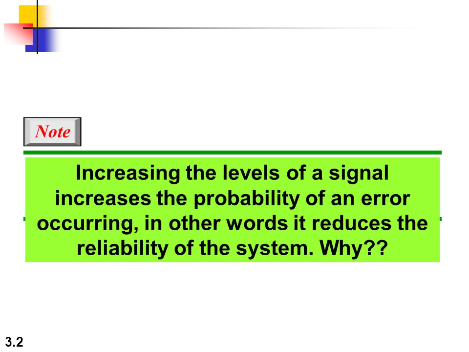 3.3 Capacity of a System The bit rate of a system increases with an increase in the number of signal levels we use to denote a symbol.