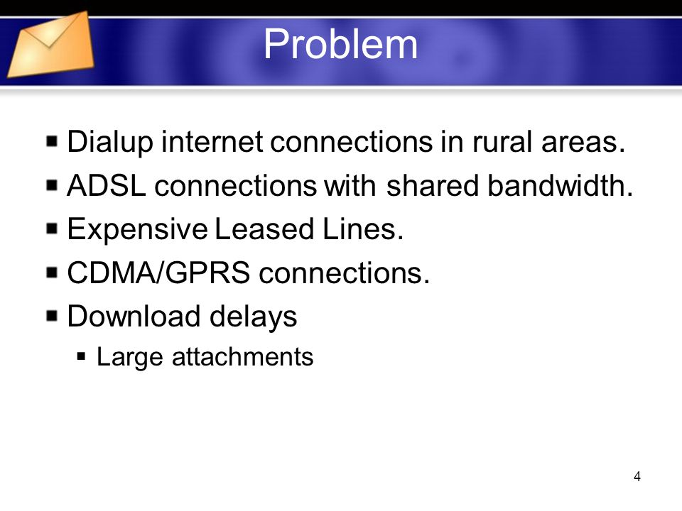 4 Problem Dialup internet connections in rural areas.
