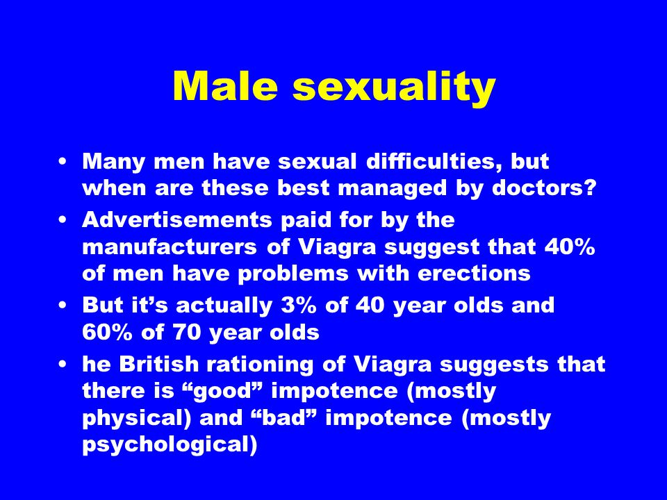 Male sexuality Many men have sexual difficulties, but when are these best managed by doctors? Advertisements paid for by the manufacturers of Viagra s