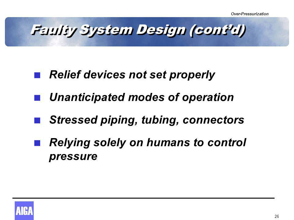 Over-Pressurization 26 Faulty System Design (cont'd)  Relief devices not set properly  Unanticipated modes of operation  Stressed piping, tubing, c