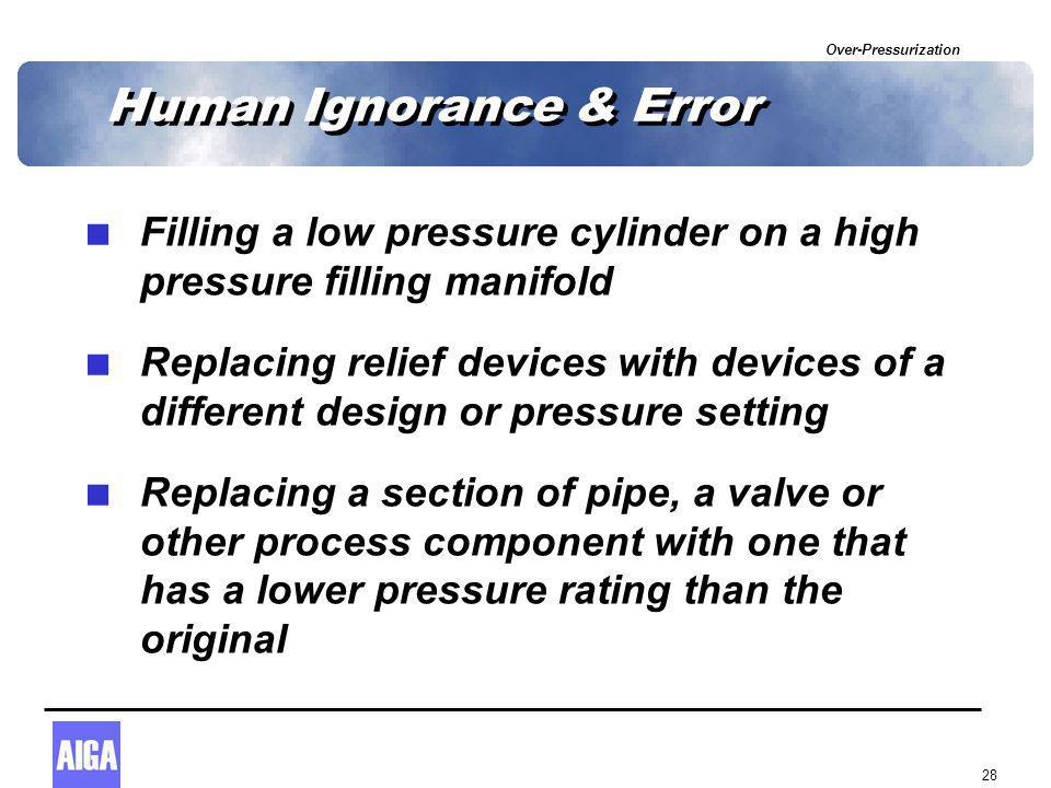 Over-Pressurization 28 Human Ignorance & Error  Filling a low pressure cylinder on a high pressure filling manifold  Replacing relief devices with devices of a different design or pressure setting  Replacing a section of pipe, a valve or other process component with one that has a lower pressure rating than the original