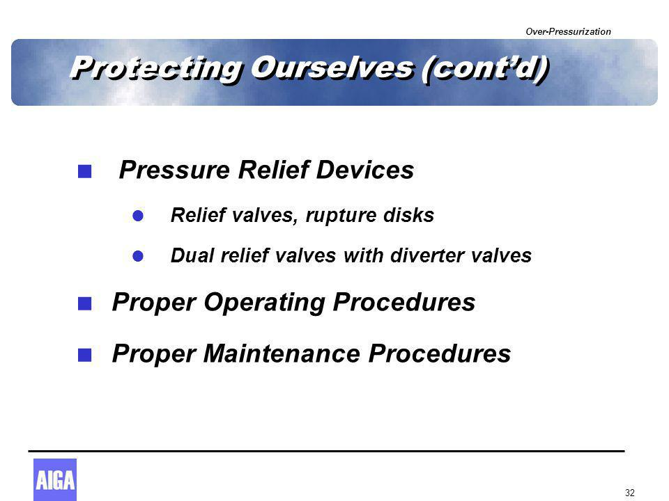 Over-Pressurization 32 Protecting Ourselves (cont'd)  Pressure Relief Devices  Relief valves, rupture disks  Dual relief valves with diverter valve