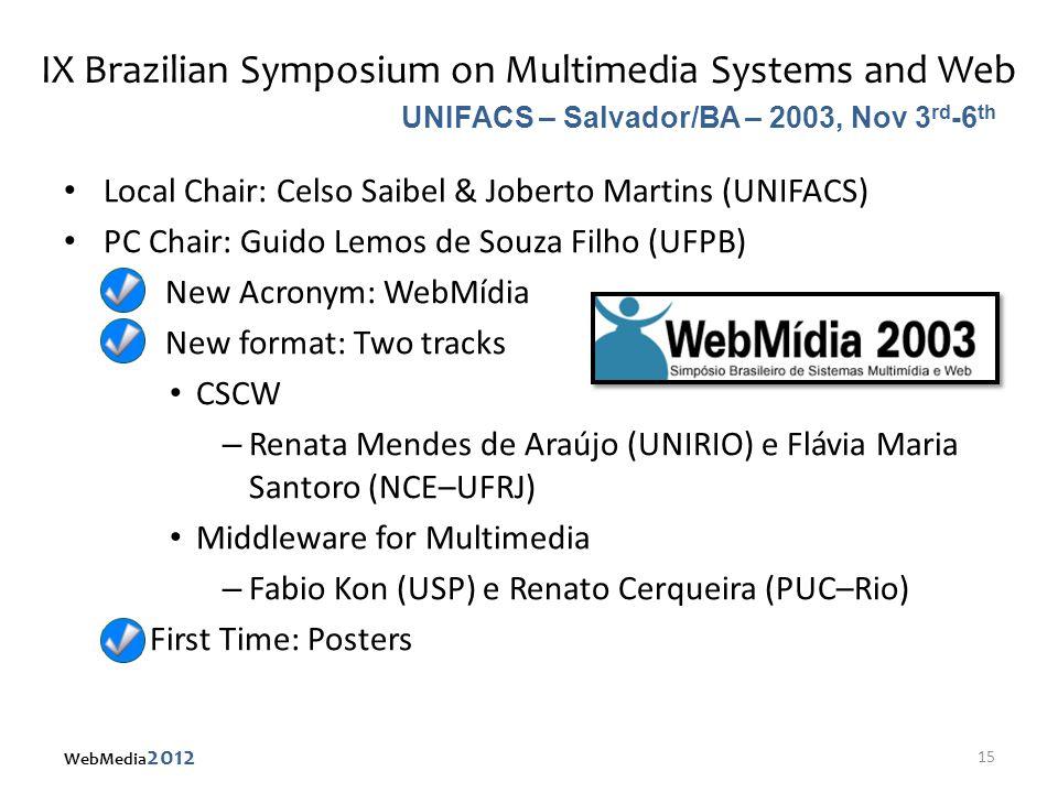 IX Brazilian Symposium on Multimedia Systems and Web Local Chair: Celso Saibel & Joberto Martins (UNIFACS) PC Chair: Guido Lemos de Souza Filho (UFPB)
