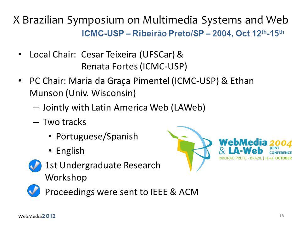 X Brazilian Symposium on Multimedia Systems and Web Local Chair: Cesar Teixeira (UFSCar) & Renata Fortes (ICMC-USP) PC Chair: Maria da Graça Pimentel