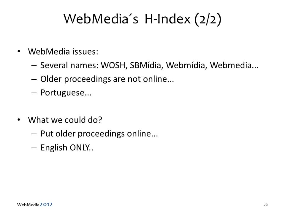 WebMedia´s H-Index (2/2) WebMedia issues: – Several names: WOSH, SBMídia, Webmídia, Webmedia... – Older proceedings are not online... – Portuguese...