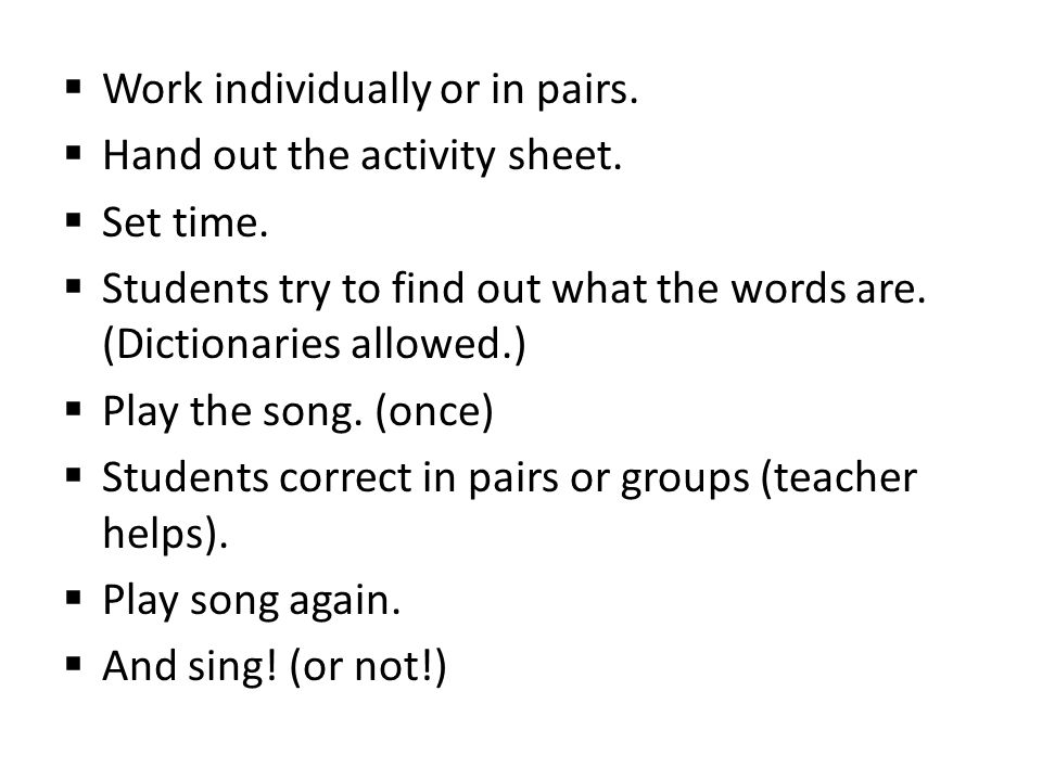  Work individually or in pairs.  Hand out the activity sheet.