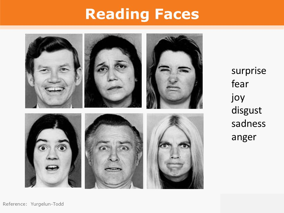 Reading Faces surprise fear joy disgust sadness anger Reference:Yurgelun-Todd