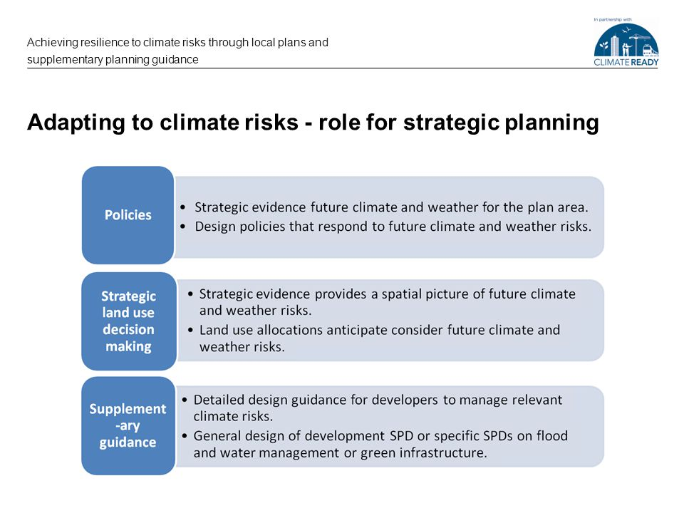 Adapting to climate risks - role for strategic planning Achieving resilience to climate risks through local plans and supplementary planning guidance