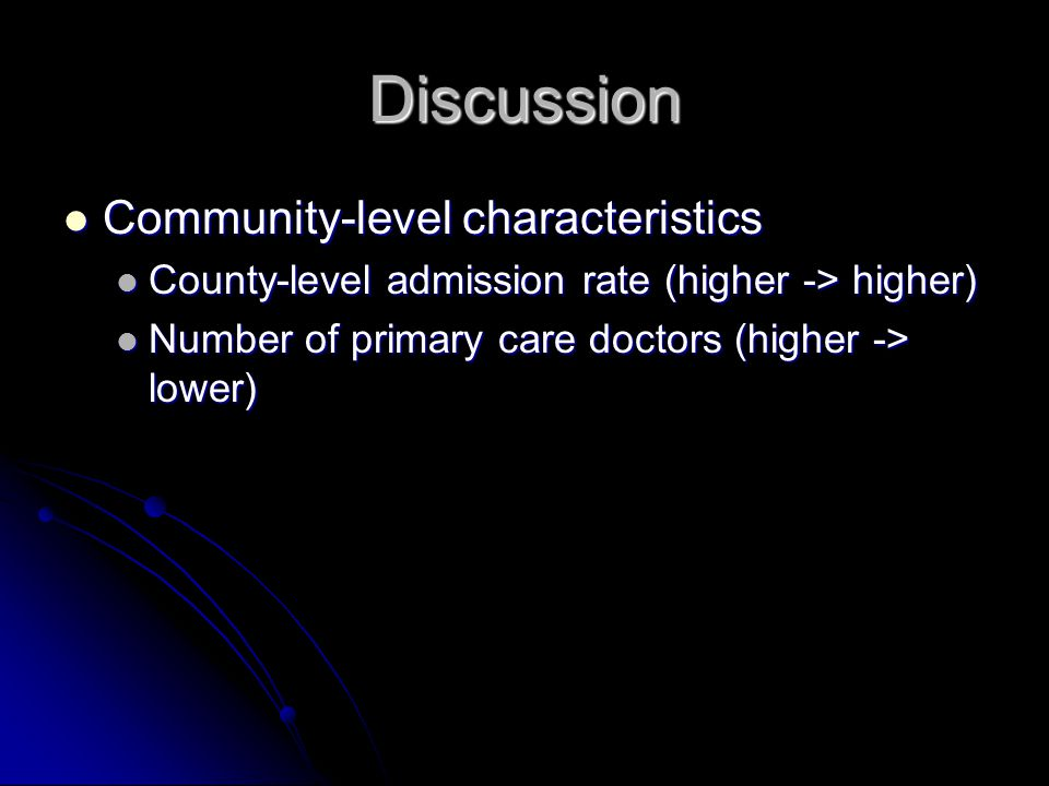 Discussion Community-level characteristics Community-level characteristics County-level admission rate (higher -> higher) County-level admission rate
