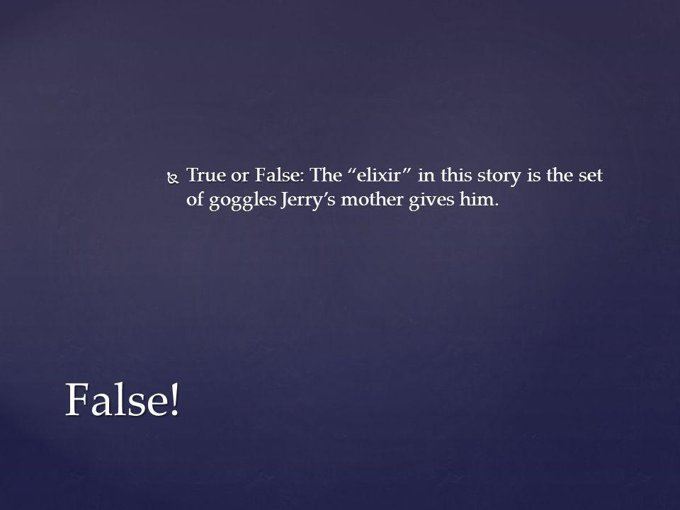 """ True or False:  True or False: The """"elixir"""" in this story is the set of goggles Jerry's mother gives him. False!"""