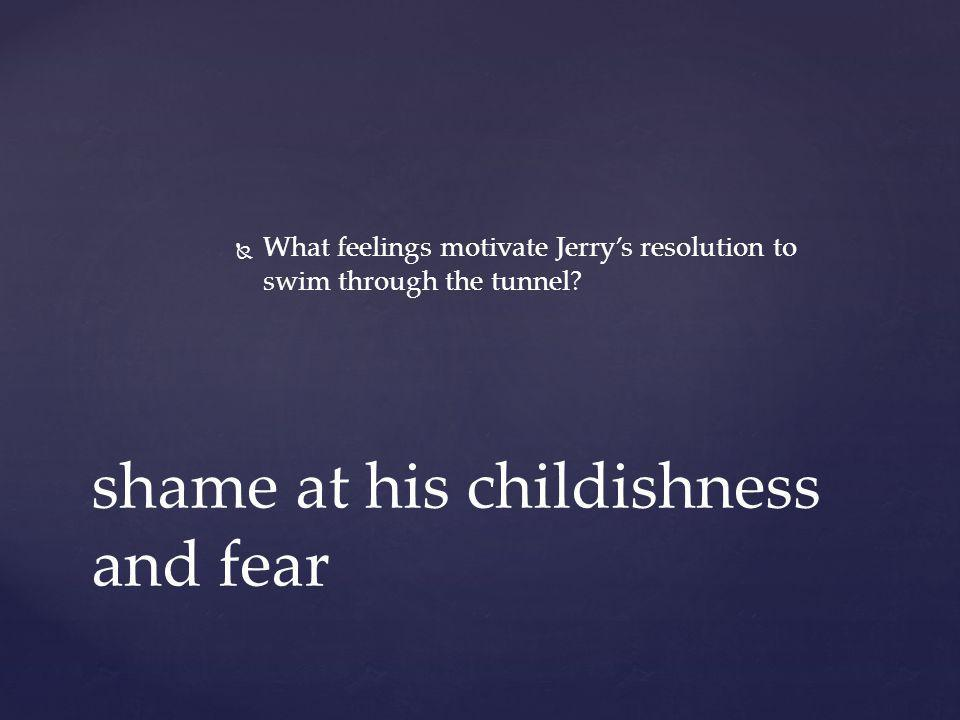  What feelings motivate Jerry's resolution to swim through the tunnel? shame at his childishness and fear