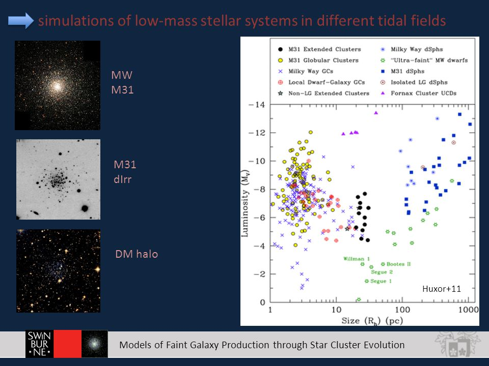 Models of Faint Galaxy Production through Star Cluster Evolution simulations of low-mass stellar systems in different tidal fields Huxor+11 M31 dIrr DM halo MW M31