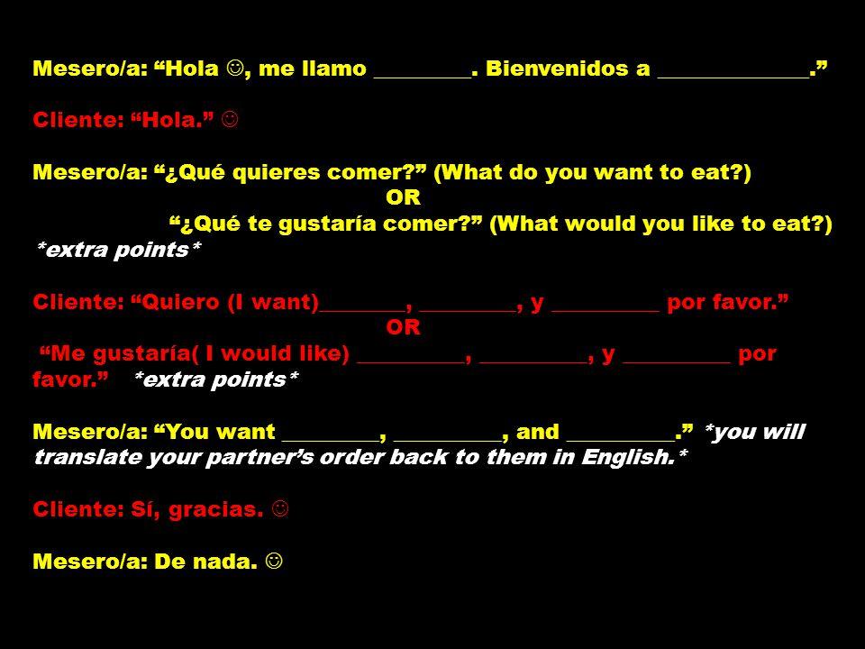 Mesero/a: Hola, me llamo _________.