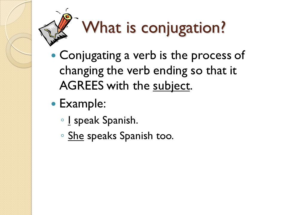Conjugating in Spanish In Spanish, there are three types of verbs (infinitives): ◦ --ar verbs (hablar, estudiar, etc.) ◦ --er verbs (comer, beber, etc.) ◦ --ir verbs (escribir, compartir, etc.) Regular verbs are conjugated the same way according to the type of infinitive