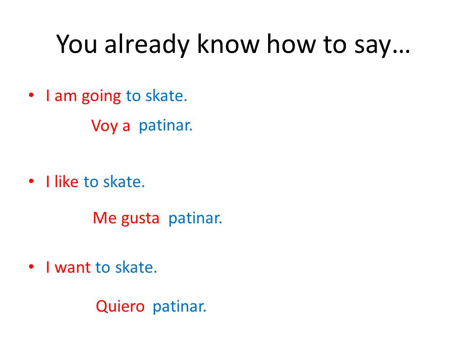 You already know how to say… I am going to skate.I like to skate.