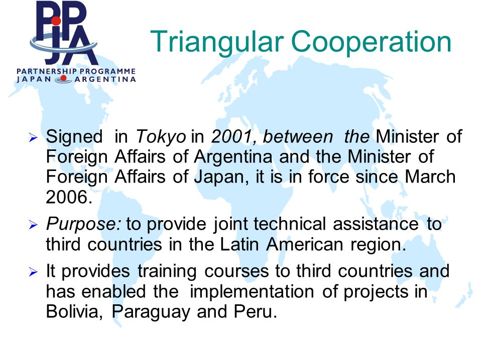 Triangular Cooperation In process of negotiations with: u COLOMBIA u UNIFEM u IIAC (IICA) u IMO International Maritime Organization Dirección General de Cooperación Internacional Secretaría de Coordinación y Cooperación Internacional Ministerio de Relaciones Exteriores, Comercio Internacional y Culto