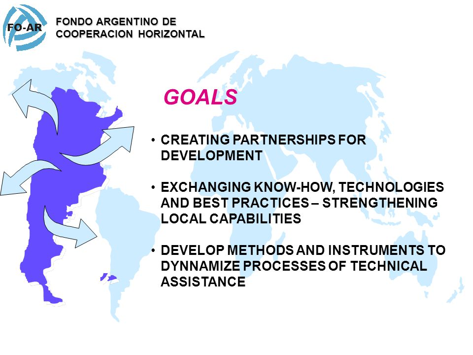 The Argentine Fund for Horizontal Cooperation (FO-AR) is the instrument of Foreign Policy trough which the Argentine Republic executes since 1992, the activities of South-South Cooperation, enhancing joint South-South Cooperation initiatives with other countries through association, collaboration and mutual support cooperation mechanisms.