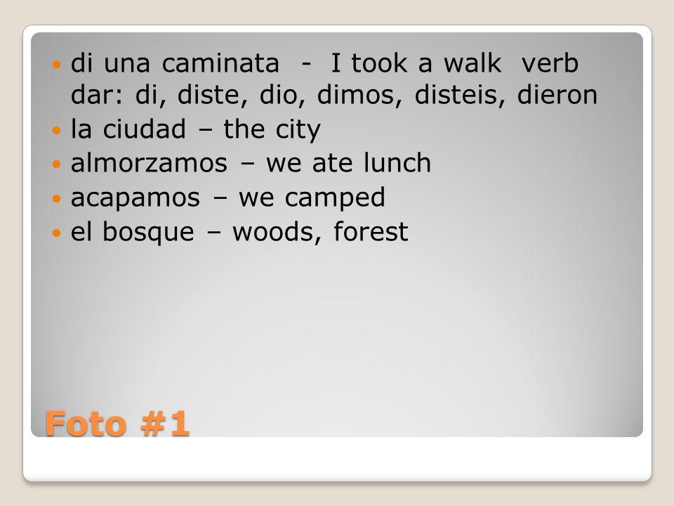Foto #1 di una caminata - I took a walk verb dar: di, diste, dio, dimos, disteis, dieron la ciudad – the city almorzamos – we ate lunch acapamos – we camped el bosque – woods, forest