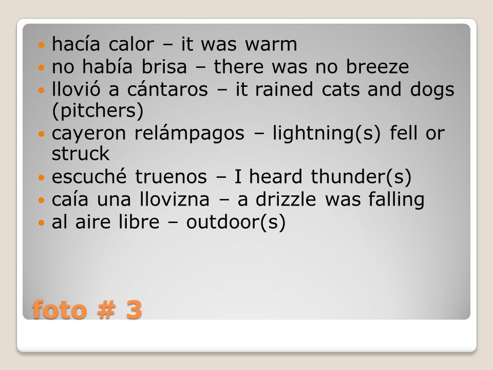 foto # 3 hacía calor – it was warm no había brisa – there was no breeze llovió a cántaros – it rained cats and dogs (pitchers) cayeron relámpagos – lightning(s) fell or struck escuché truenos – I heard thunder(s) caía una llovizna – a drizzle was falling al aire libre – outdoor(s)