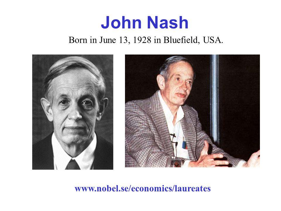 www.nobel.se/economics/laureates John Nash Born in June 13, 1928 in Bluefield, USA.