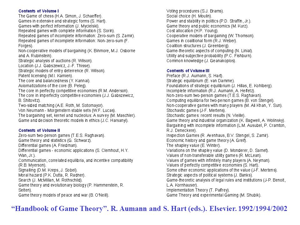 Handbook of Game Theory . R. Aumann and S. Hart (eds.). Elsevier. 1992/1994/2002