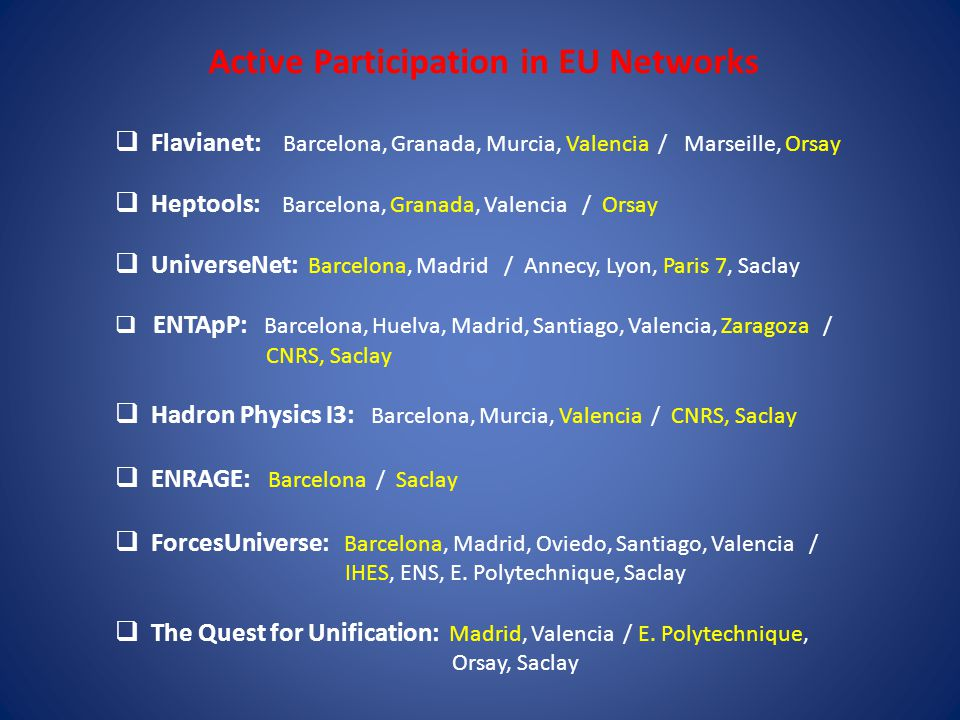Entering the high-precision era of flavour physics through the alliance of lattice simulations, effective field theories and experiment Marie Curie Reseach Training Network, MRTN-CT-2006-035482, (1/10/2006 – 30/9/2010) EU Coordinator: A.