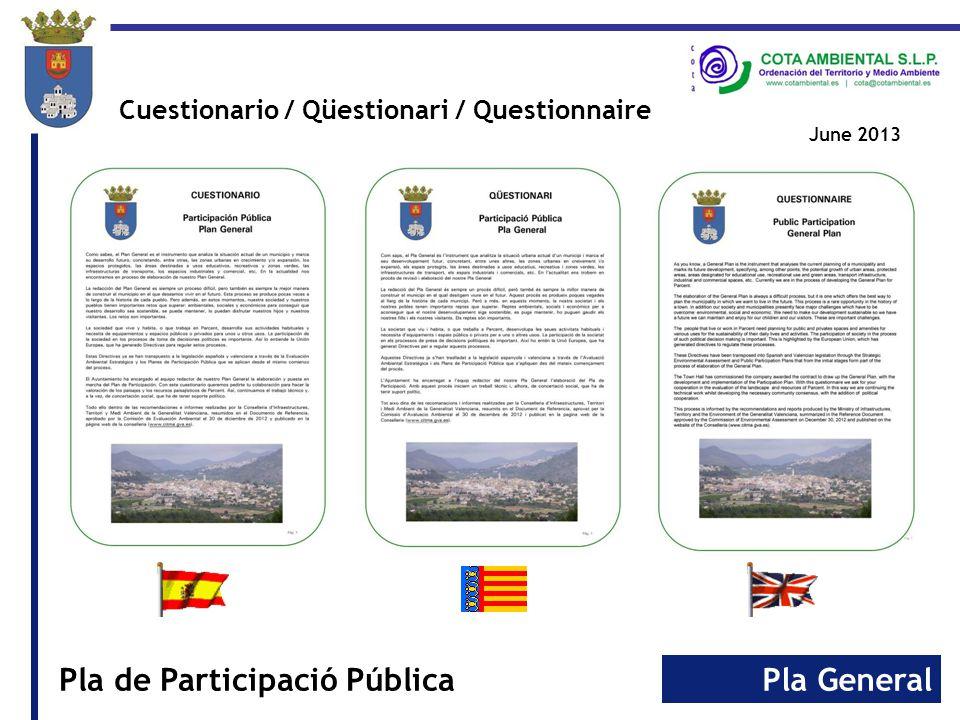 Pla GeneralPla de Participació Pública Cuestionario / Qüestionari / Questionnaire June 2013