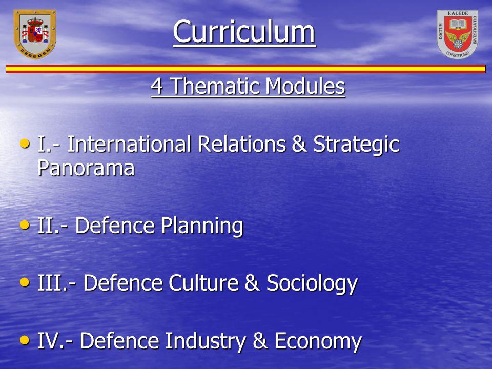 Curriculum 4 Thematic Modules I.- International Relations & Strategic Panorama I.- International Relations & Strategic Panorama II.- Defence Planning