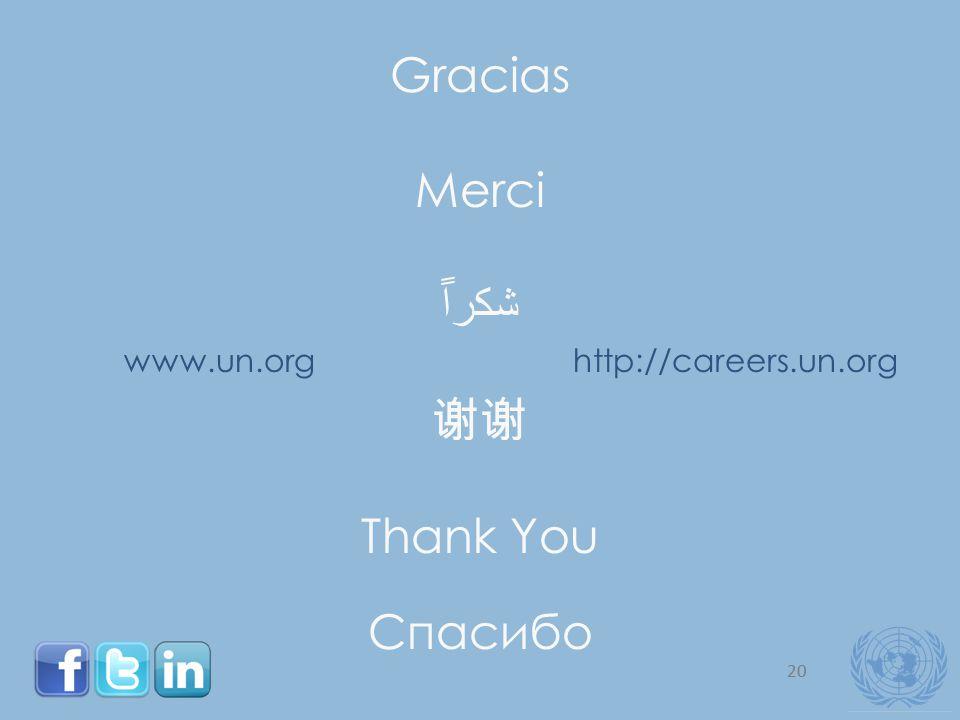 20 Gracias Merci ﺷﻜﺮﺍ ﹰ 谢谢 Thank You Спасибо www.un.orghttp://careers.un.org