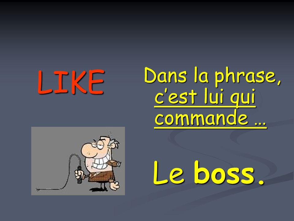 LIKE Dans la phrase, c'est lui qui commande … Le boss.